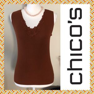 ⬇️🌸🌟CHICOs LACE TRIMMED V-VECK RIBBED KNIT TANK
